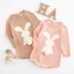 Lovely rabbit knit sweater jumpsuit for baby 2019