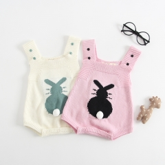 Sweet knitted rabbit design overalls romper for baby
