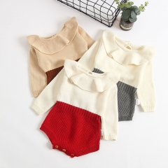 Ruffle collar long-sleeve knit romper for baby