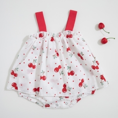 condole belt cherry print design dress for baby in summer