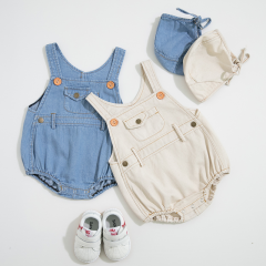 2-piece cowboy overalls jumpsuit in summer with hat