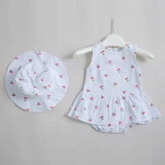 cherry print design summer baby romper 0-2 years old