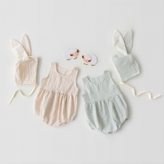 2-piece grid design sleeveless romper with rabbit ear hat