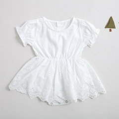 round collar short sleeve hollow-out romper dress for baby 0-2 years