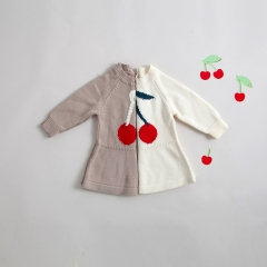 new arrival cherry print long-sleeve knitting sweater for baby 0-2 years