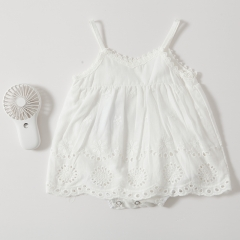 condole belt hollow-out pure white color romper for baby girl in summer