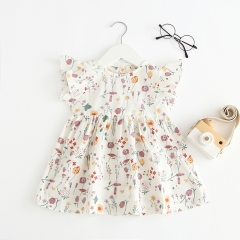 butterfly sleeves dress for baby girl 0-2 in summer