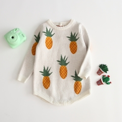wholesale pineapple pattern round collar knitting sweater romper