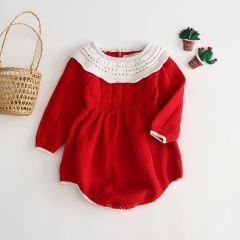 hollow-out toddler knitting sweater romper for baby 0-2 years