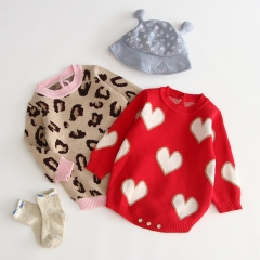 heart pattern round-collar sweater overall jumpsuits for 0-2 years baby