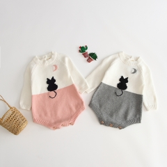 cat pattern one-piece for 0-2 years baby