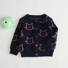 2019 autumn new arrival baby boy cat pattern knitting coat