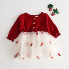 net yarn splicing stylish long-sleeve dress for baby girl 0-2 years old