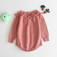 ins hot sale handmade knitting sweater romper for 0-2 years baby in autumn