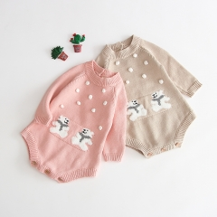 2019 Autumn new arrival cotton jacquard knitting sweater romper with handmand pompom design