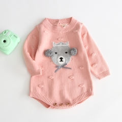 cartoon long-sleeve round collar romper for baby in autumn wholesale