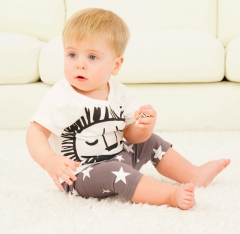 2-piece baby boy's lion striped short sleeve tee and shorts sets