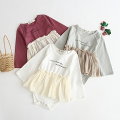fashionable & subtle matching baby girl autumn romper dress wholesale