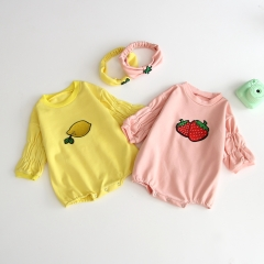 autumn stylish fruit print & long-sleeve romper with round collar for baby wholesale