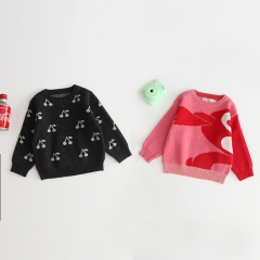 2019 new arrival autumn baby knitting coat with cherry print design wholesale