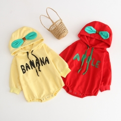 2019 new arrival baby autumn winter onesie hoodie with name letter print wholesale