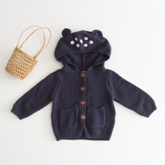 2019 new arrival infant baby hooded knitted jacket wholesale