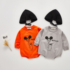 Micky mouse print round-collar onesie for infant baby 0-2 wholesale