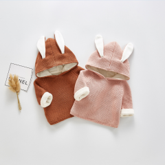 infant baby rabbit design hoodie sweater in winter wholesale