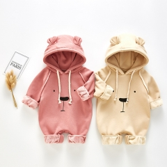 Ins new arrival infant baby autumn winter loose design bear print hoodie wholesale