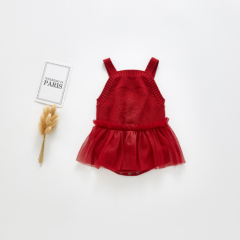 New arrival infant baby mesh skirt +knitting straps joining together romper wholesale