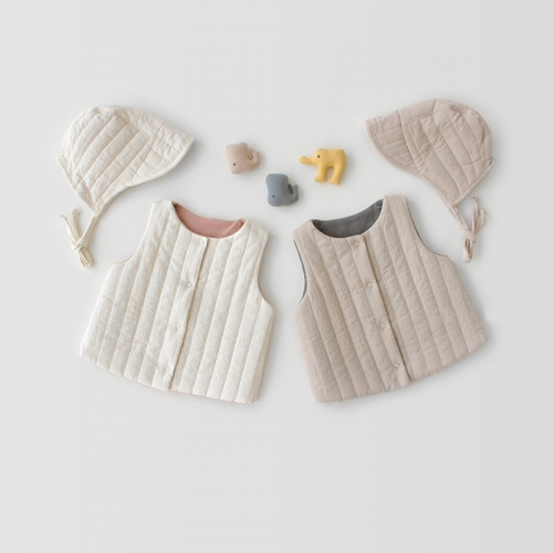 2-piece infant baby warmful waistcoat with two sides wearing function outfits wholesale