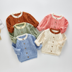 long-sleeve twist design knitting sweater coat for baby girl & boy wholesale