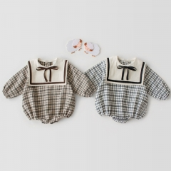 2020 new arrival spring British grid with Navy collar design romper for baby girl wholesale