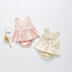 2020 new arrival summer infant baby sets sleeveless butterfly back design dress & short pants wholesale