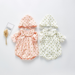 2020 infant baby new arrival baby girl little floral print with hat 2 pieces outfit wholesale