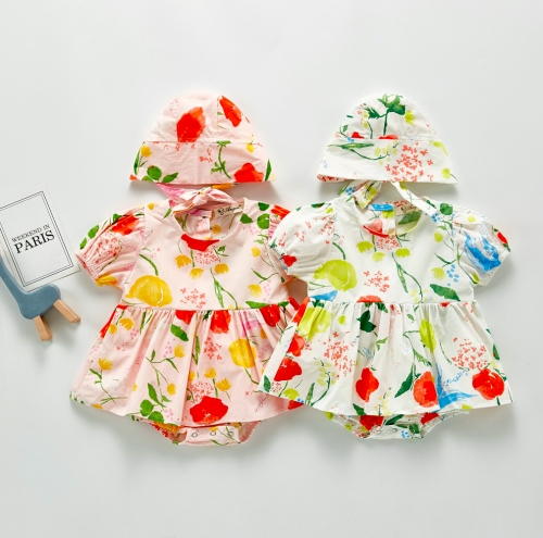 Sweet floral baby girl dress with hat in summer wholesale