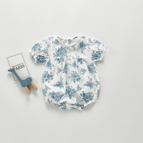 Baby Floral Short-Sleeve Bodysuits 2020 Summer Infant Newborn Clothes Wholesale