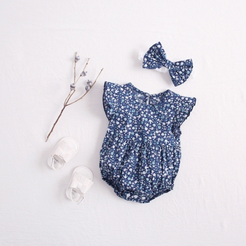 Newborn Baby Girl Kids 2pcs Set Flying Sleeve Floral Print One Piece Romper Jumpsuit and Headband Outfit Children Clothes Wholesale