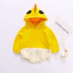 Infant Autumn Cotton Long Sleeve Jumpsuit Cute Baby Clothes Little Yellow Duck Triangle Hooded Romper Wholesale