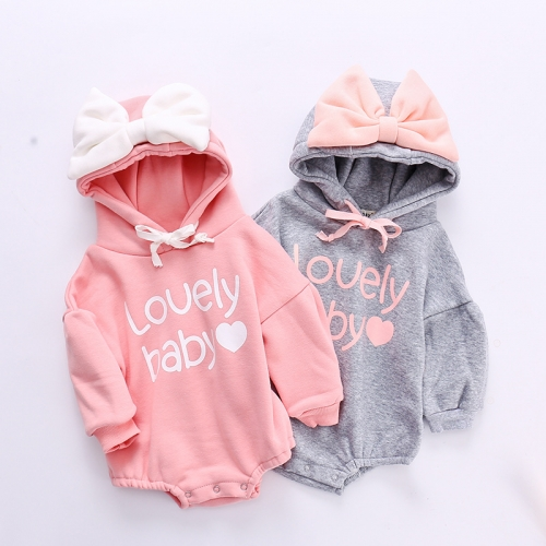 100% cotton hooded baby bodysuit spring autumn girl wear printed baby girl clothes romper wholesale