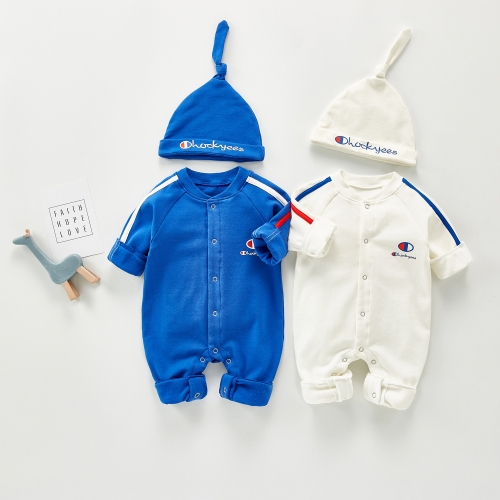 2020 autumn and winter baby long jumpsuits for baby girl baby boy sports long romper with hats cotton romper wholesale