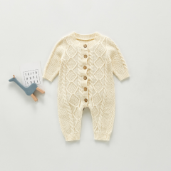 ins hot-selling infant baby boy & girl long romper pure cotton woolen one-piece twist romper wholesale
