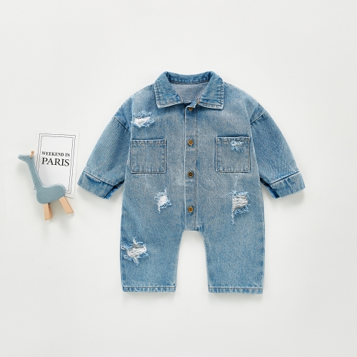 Infant autumn clothes fashionable foreign style denim jumpsuit for baby girl & boy wholesale