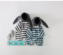 Korean fashion autumn striped baby bunny romper hooded long sleeve rabbit jumpsuit Wholesale