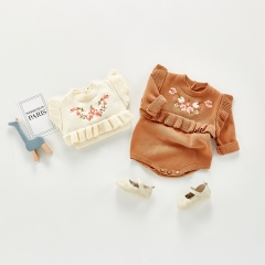 Spring Autumn Knitting cotton baby girl embroidery romper jumpsuit kids cute clothing baby long sleeve clothes wholesale