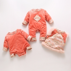 New year warm baby clothes thickening baby girls rompers for Winter Wholesale