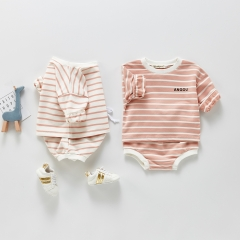 spring and summer baby long-sleeved striped top and bread pants two-piece suit Wholesale