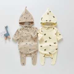 2021 spring and autumn new baby romper suit printing bottoming romper + trousers + hat three-piece suit Wholesale