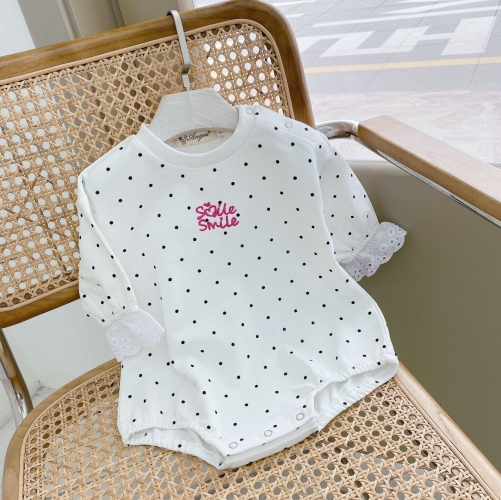 Angoubebe 211H23 Baby Girl Spring Black Dots Cotton Romper Wholesale