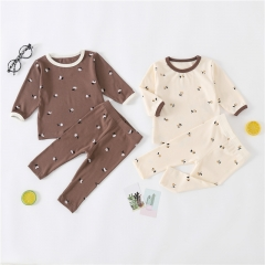 Infant baby girl boy spring autumn floral print round-collar long-sleeve T-shirt & cute pants wholesale